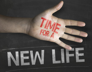 Educational composition with the message Time for New Life
