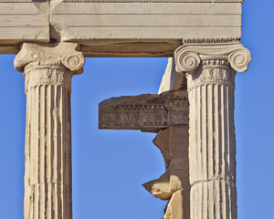 erechtheion temple detail, acropolis of Athens, Greece