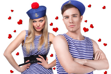 Loving sailor couple