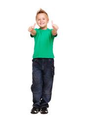 Stylish boy in green tshirt  showing thumbs up