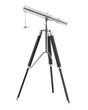 canvas print picture - telescope on tripod isolated on white background