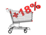 shopping cart with plus 18 percent sign isolated on white backgr