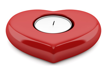 red heart-shaped candlestick with candle isolated on white backg