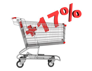 shopping cart with plus 17 percent sign isolated on white backgr
