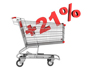 shopping cart with plus 21 percent sign isolated on white backgr