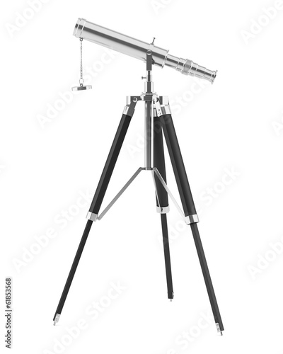canvas print picture telescope on tripod isolated on white background