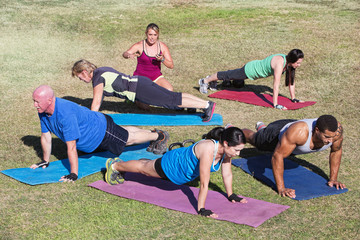 Mixed Group Exercising Outdoors
