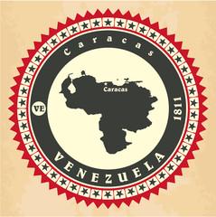 Vintage label-sticker cards of Venezuela.