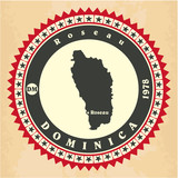 Vintage label-sticker cards of Dominica. Vector illustration