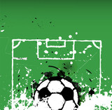 grungy soccer ball illustration,free space for your text