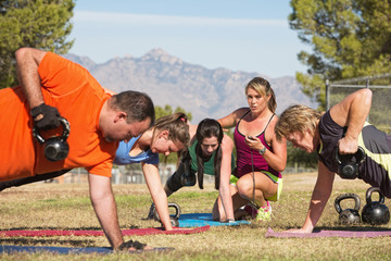 Mature Exercise Group with Trainer