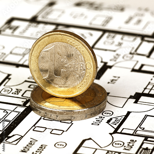 EURO coins with construction plan