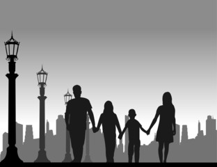 Family walking on the street silhouette