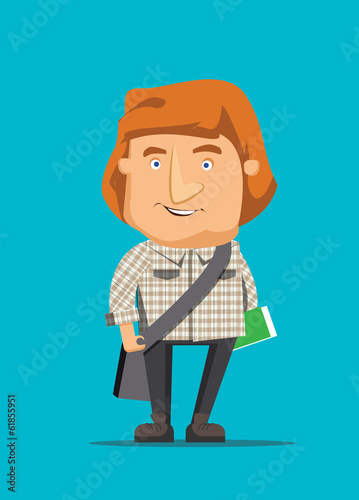 Australian man traveling and holding book vector illustration