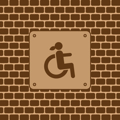 Vector disabled woman restroom sign