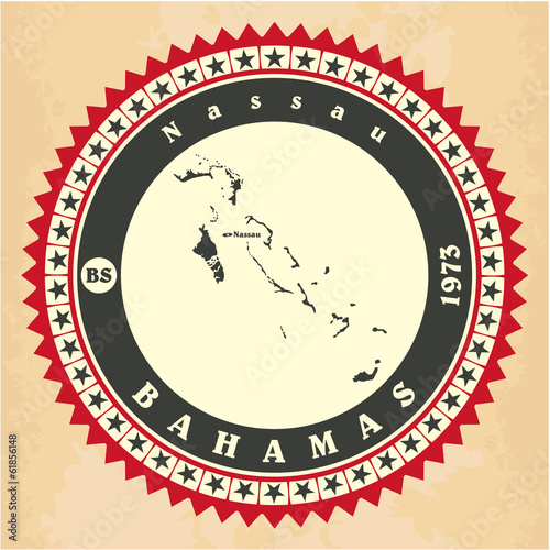Vintage label-sticker cards of Bahamas