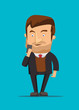 Gentleman holding new android phone vector image illustration