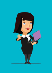 Businesswoman manager CEO organizing laptop vector illustration