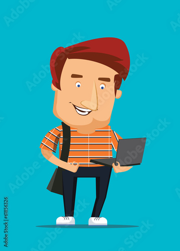 University college student looking at laptop vector illustration
