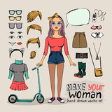 girl character with hipster elements
