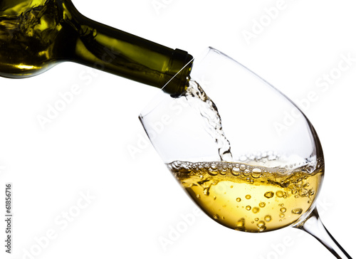 White wine isolated  on white background