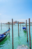 Gondolas on the docks in Venice