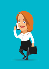 Businesswoman talking on smartphone vector illustration