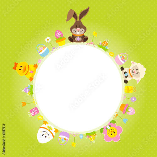 Easter Bunny & Friends Round Frame Green