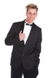 Trendy young man in black tuxedo