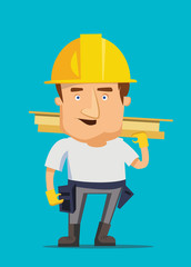 Strong construction worker on a real estate vector illustration