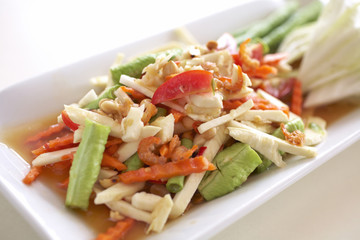 spicy coconut and carrot salad with herb