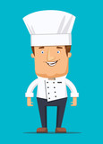 Chief cook in kitchen luxury restaurant in uniform illustration