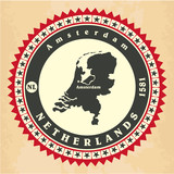 Vintage label-sticker cards of Netherlands