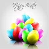 Happy Vector Background with Colorful Eggs