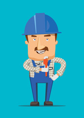 Construction engineer worker smiling on a job illustration