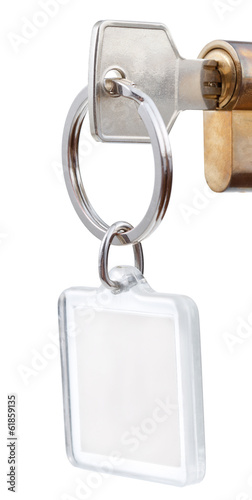 door key with square keychain in cylinder lock