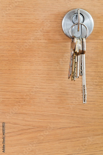 bunch of home keys in lock of wood door