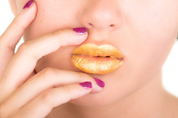 close up neon bright yellow fashion lips