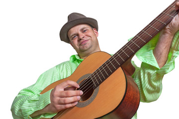 Guitarist playing guitar and smiling isolated