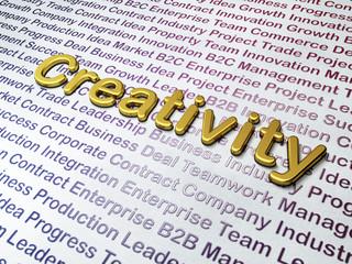 Marketing concept: Golden Creativity on Business background
