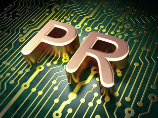 Marketing concept: PR on circuit board background