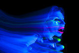 Woman black light ghost hand up mouth open poster