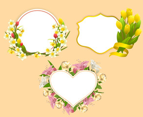 set of frame with flowers