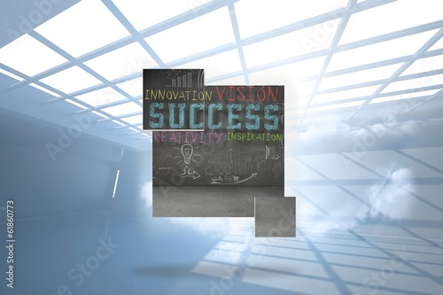 Composite image of success plan on abstract screen