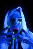 Woman black light towel scream poster