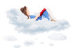 Cute little girl reading a book and laying on cloud