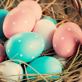 Close up of Easter Eggs Painted Pink, Blue colors