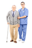 Young doctor helping an elderly gentleman with crutch