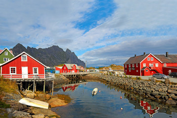 Fishing village Henningsvaer in Lofoten islands in Norway