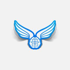 realistic design element: wing, angel, brain